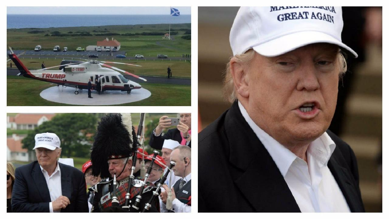 Donald Trump protesters gather as tycoon to arrive in Scotland