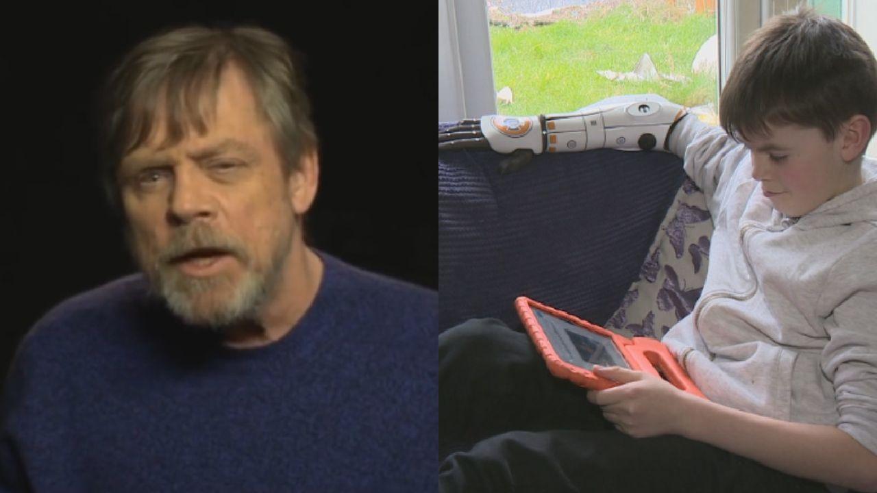 Luke Skywalker praises schoolboy's BB-8 bionic arm cover