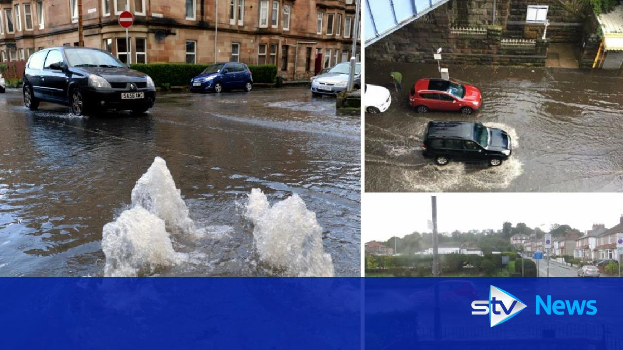 Heavy rain causes flash flooding in south of glasgow for League city flooding outdaughtered