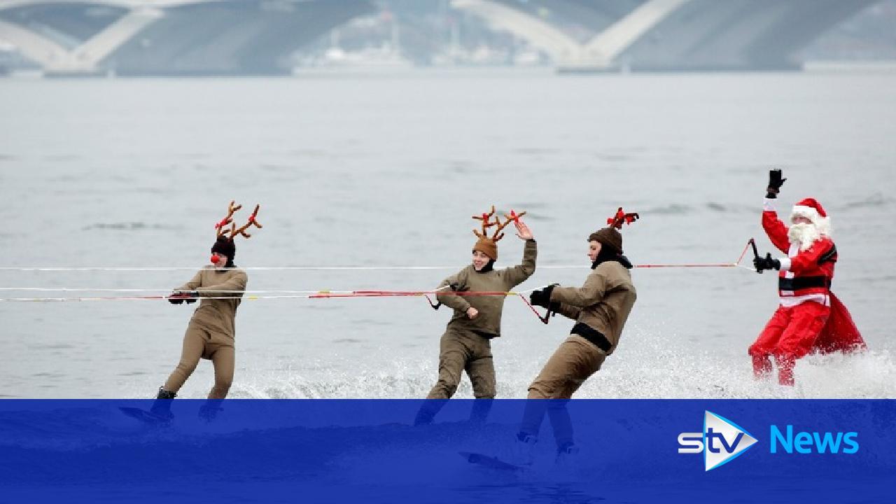 santas skate  waterski and surf as world celebrates christmas