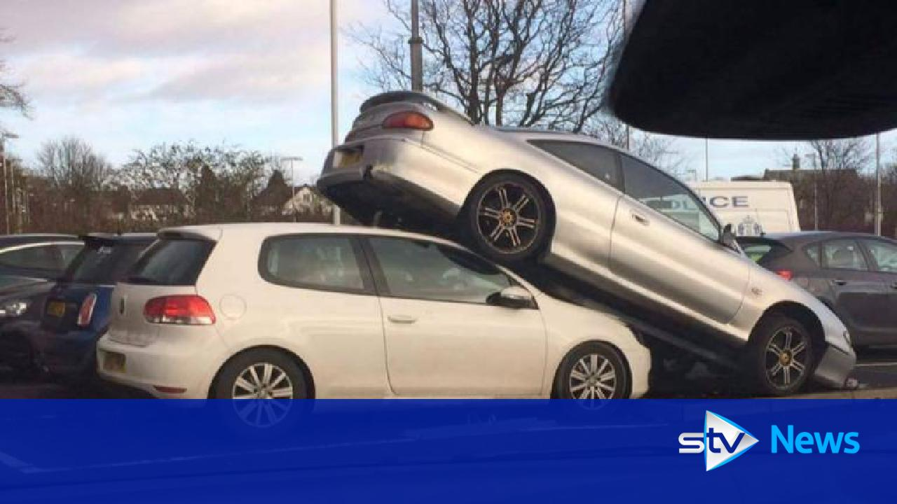Mazda Ends Up On Top Of Volkswagen In Train Station Car Park
