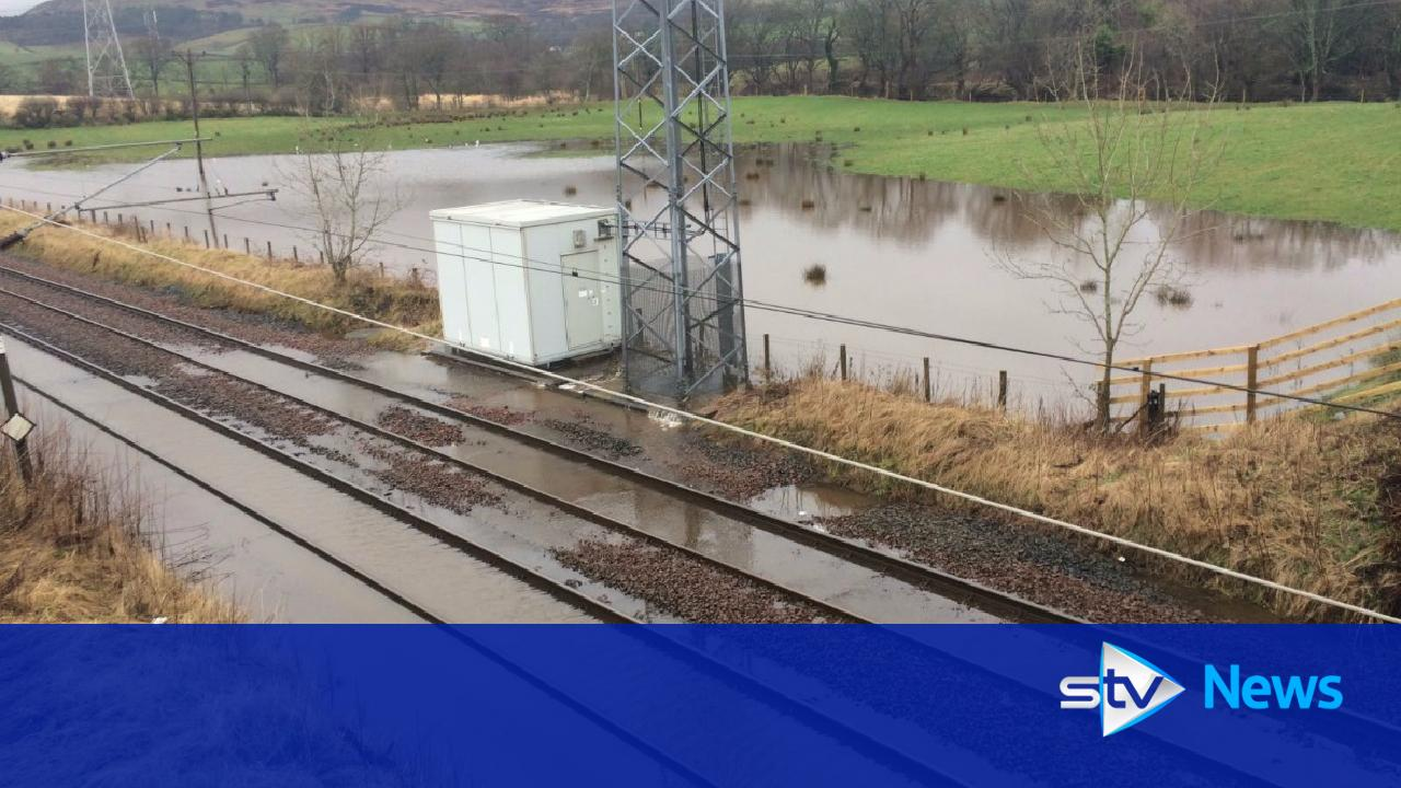 rail line closed after flooding hits north ayrshire