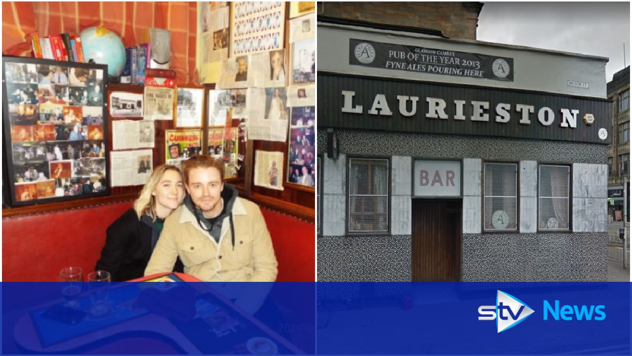 Saoirse Ronan gets treated to a pint at Glasgow pub