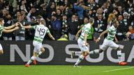 Moussa Dembele celebrates opening the scoring for Celtic.