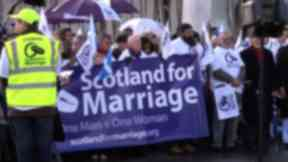 Protest: The group are against proposals to allow gay couples to marry.