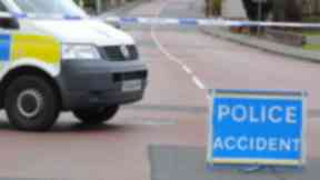 Police accident road scene sign generic. Quality image.