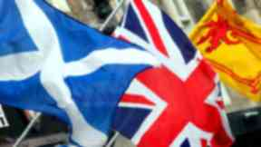 Saltire, (St Andrews Cross), Union Flag (Union Jack), and Lion Rampart. Independence. Nationalism. Separation. Unionism. Quality image.