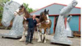 Art project: Andy Scott, with horse Duyke and Barron who the sculptures were based on, and a model of the structures.
