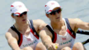 Pic of Katherine Grainger (r) and Anna Watkins winning gold at Munich World Cup event. June 2012.