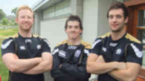 Pic of Aberdeen Grammar School FP rugby players Greig Ryan, Morgan Ward's and Callum Anderson.