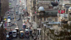 Buses on Princes Street from Calton Hill.