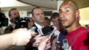 Henrik Larsson in media scrum