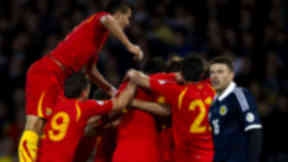 Macedonia celebrate scoring against Scotland, September 2012.