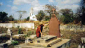 Livingstone's grave: Author Julie Davidson at Mary Livingstone's grave in Mozambique.