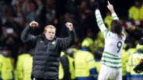 Celtic manager Neil Lennon celebrates at full-time