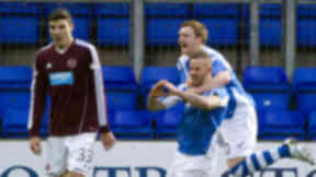Rowan Vine (2nd right) celebrates with Liam Craig levelling the score for Inverness CT