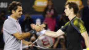 Andy Murray shakes hands with Roger Federer after defeating him in their men's singles semi-final at the Australian Open.