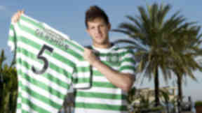 New Celtic defender Rami Gershon is unveiled at the club's Marbealla training base after joining on loan from Standard Liege.