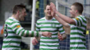 Celtic's James Forrest (right) celebrates his goal with team mates Anthony Stokes and Gary Hooper (left).