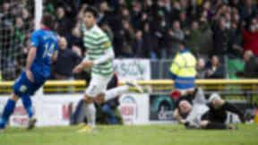 Miku celebrates scoring for Celtic against Inverness.