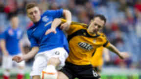 Alloa Athletic's Darren Young in action versus Rangers.