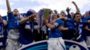Rangers players celebrate winning the 2005 SPL title.