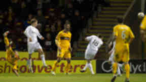 Motherwell's Kallum Higginbotham (left) fires home a spectacular strike to give his side a 2 goal lead.