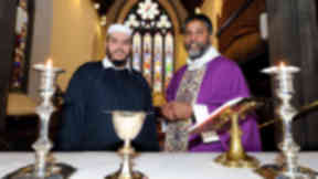 Sheikh Amed Magghabri (left) and Rev Isaac Poobalan at St John's Episcopal Church Aberdeen.