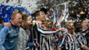 St Mirren celebrate with the Scottish League Cup trophy.