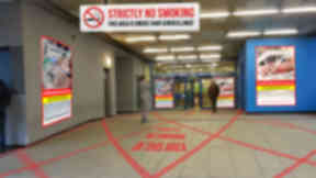 Artist impression of the smokefree zone branding at the Glasgow Royal Infirmary Hospital entrance.