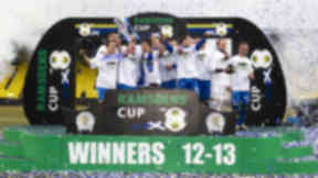 Queen of the South celebrate after winning the Ramsdens Cup