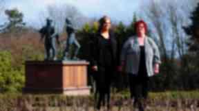 Kerri and Maureen Henderson in the Piper Alpha Memorial Garden