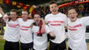 Partick Thistle celebrate promotion to the SPL.