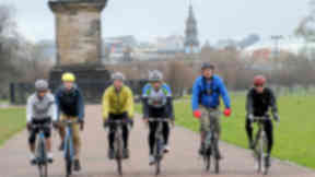 Sportive cycle: The riders set off from Glasgow Green.