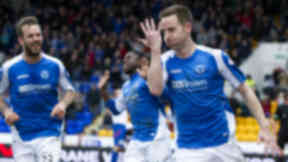 Steven Maclean celebrating scoring for St Johnstone.