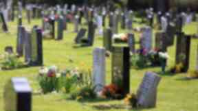 Cemetery wide shot, not identifiable. Quality image.