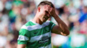 Celtic's Derk Boerrigter curses a missed opportunity