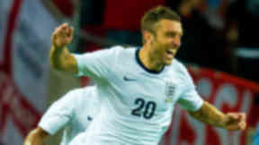 Sheer delight on the face of Rickie Lambert as his debut goal gives England the lead.