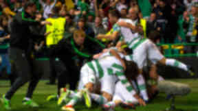 Celtic manager Neil Lennon (left) celebrates with his team after James Forrest's third goal of the game