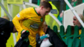 Kris Common is withdrawn with a hamstring injury against Hibernian.