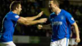 Rangers striker Jon Daly (right) celebrates with team-mate Andrew Little after opening the scoring