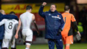 Hearts manager Gary Locke celebrates at full time