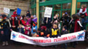Campaigners gather outside Leith Waterworld