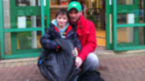 Kevin Clark, 34 and his son Leith Clark, 8, outside Leith Waterworld