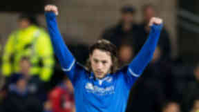 St Johnstone's Stevie May celebrates after opening the scoring