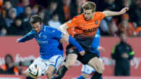 Split time: Dundee United take on St Johnstone in a Scottish Cup final dress rehearsal.