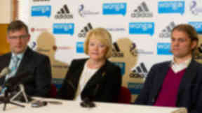 New regime: Craig Levein, Anne Budge and Robbie Neilson met the media at Tynecastle.
