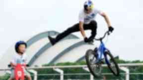 Danny McAskill shows off his skills at the riverside to launch the freshnlo Pedal for Scotland family ride.