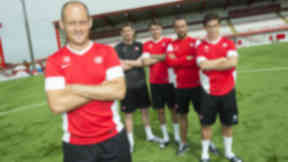 Alex Neil with Hamilton Accies' new summer signings.