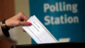 Quality image of casting vote in Scottish independence referendum.